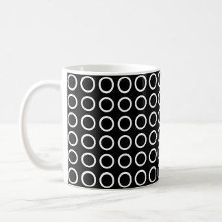 White Circles Black Coffee Mug