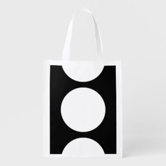 White Circles on Black Reusable Grocery Bag