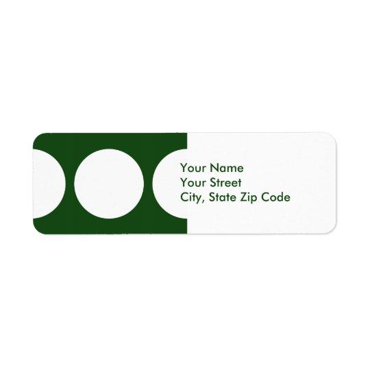 White Circles on Green return address label