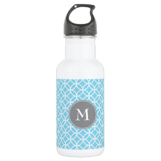White Circles Overlapping Pattern Baby Blue Backgr 532 Ml Water Bottle
