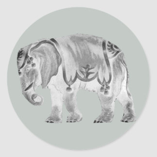 White Circus Elephant on Mercury Gray Classic Round Sticker