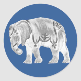 White Circus Elephant on Turkish Sea Blue Classic Round Sticker
