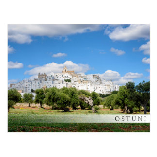 White city Ostuni, Puglia bar postcard