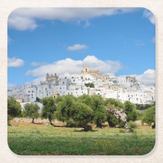 White city Ostuni with olive trees, Puglia coaster