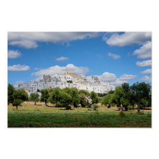 White city Ostuni with olive trees, Puglia poster