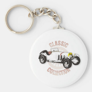 White classic racing car keychains