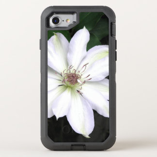 White Clematis Flower OtterBox Defender iPhone 8/7 Case
