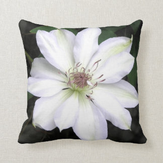 White Clematis Flower Throw Pillow