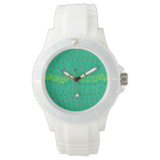 White clock lady with quadrant of designs watches