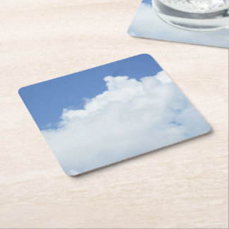 White Cloud in Blue Sky Square Paper Coaster