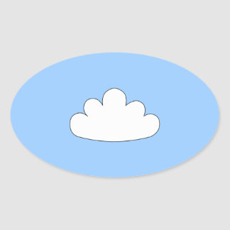White Cloud motif. On Blue. Oval Sticker