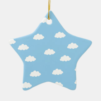 White clouds in blue background ceramic ornament