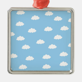 White clouds in blue background metal ornament