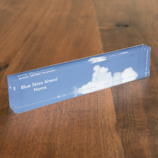 White Clouds in Blue Sky Name Plate