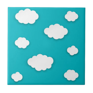 White clouds on blue sky tile