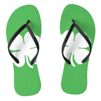 White Clover Leaf Flip Flops