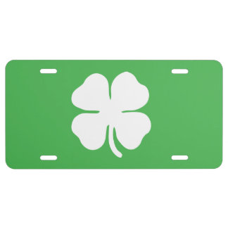 White Clover Leaf License Plate