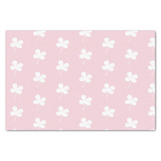 White Clovers on Pink Tissue Paper