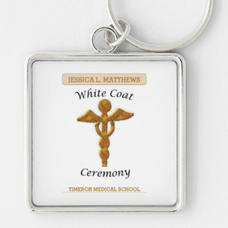 White Coat Ceremony Gold Medical, Square Gift Item Silver-Colored Square Keychain