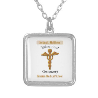White Coat Ceremony Gold Medical, Square Gift Item Silver Plated Necklace