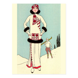 White Coat with Skunk Trim by George Barbier Postcard