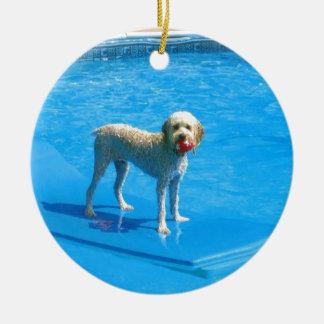 White Cockapoo Dog Swimming on a Raft Round Ceramic Ornament