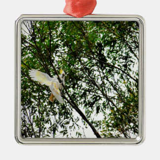 WHITE COCKATOO QUEENSLAND AUSTRALIA METAL ORNAMENT
