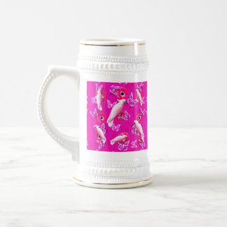 White Cockatoos, Butterflies And Pink Poppies, Beer Stein