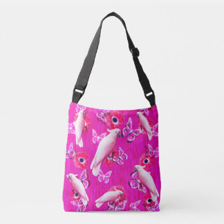 White Cockatoos, Butterflies And Pink Poppies, Crossbody Bag