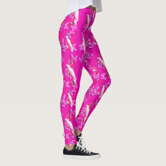 White Cockatoos, Butterflies And Pink Poppies, Leggings