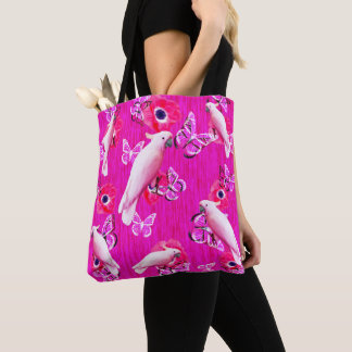 White Cockatoos, Butterflies And Pink Poppies, Tote Bag