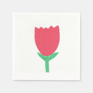 White Cocktail Napkin with a Red Tulip Design Paper Napkin