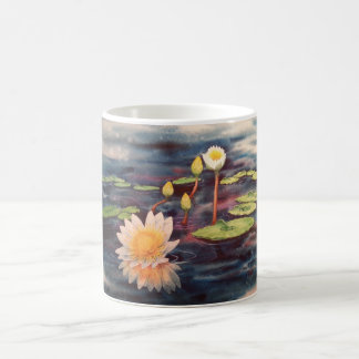 White Coffee Mug with Waterlilies Painting Wrap