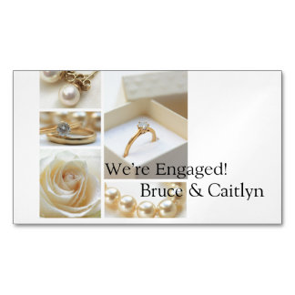 White collage engagement announcement business card magnet