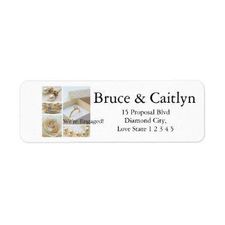 White collage engagement announcement return address label