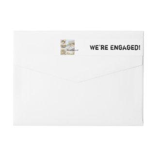 White collage engagement announcement wraparound return address label