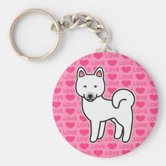 White Color Akita Cartoon Dog On Pink Background Keychain