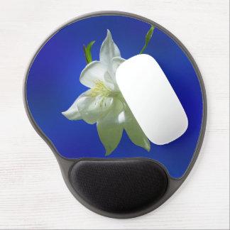 White Columbine on Blue Gel Mouse Pad