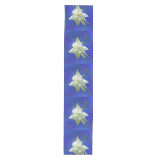 White Columbine on Blue Medium Table Runner