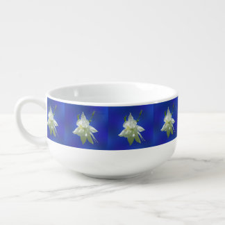White Columbine on Blue Soup Mug