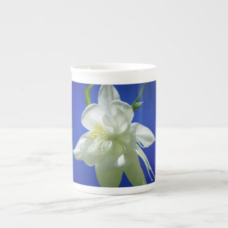 White Columbine on Blue Tea Cup