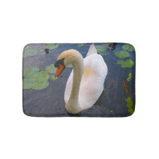 White common Mute Swan Bath Mat