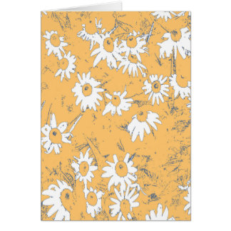 White Cone Flowers with Orange Background Card