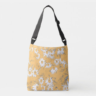 White Cone Flowers with Orange Background Crossbody Bag
