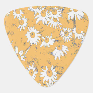White Cone Flowers with Orange Background Guitar Pick
