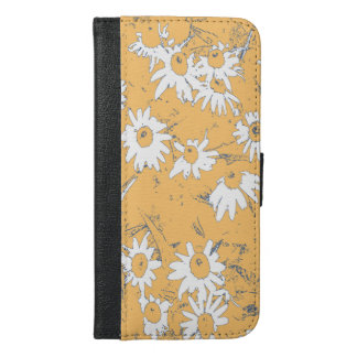 White Cone Flowers with Orange Background iPhone 6/6s Plus Wallet Case