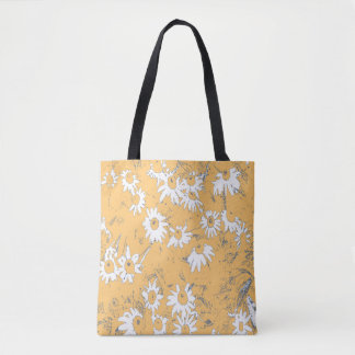 White Cone Flowers with Orange Background Tote Bag