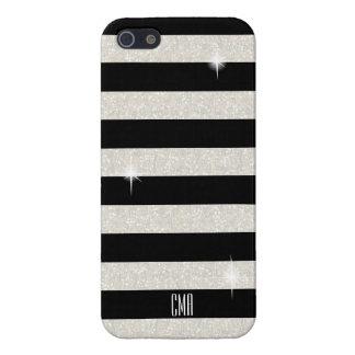 White Confetti Glitter & Black Stripes   Monogram iPhone 5/5S Covers
