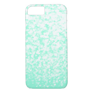 White Confetti Hearts on Mint iPhone 7 Case