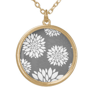 White Contemporary Flowers Round Pendant Necklace